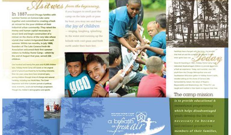 طراحی فولدر - پوشه ارائه برای کمپ تابستانی دریاچه ژنو