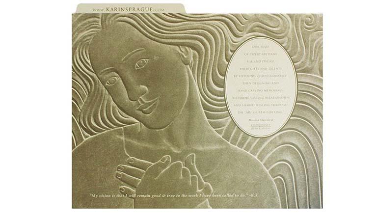 طراحی فولدر - پوشه ارائه برای هنر مجسمهسازی Karin Sprague
