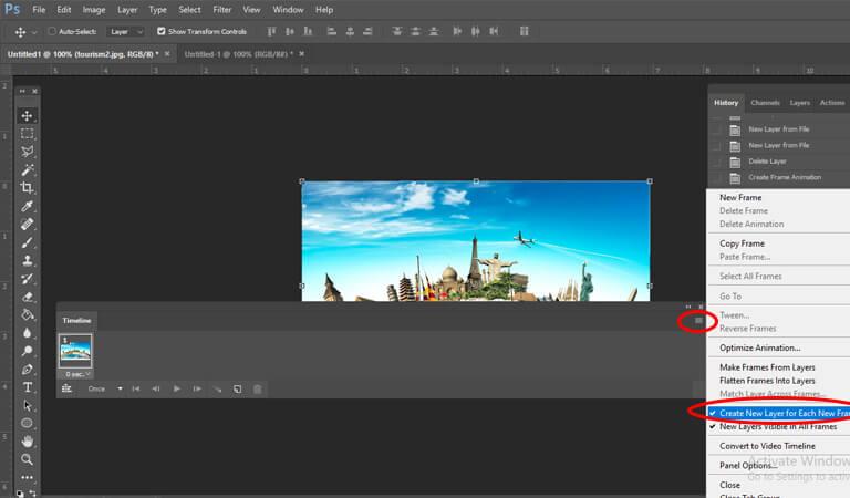آموزش طراحی بنر گیف - گزینه Create New Layer For Each Frame