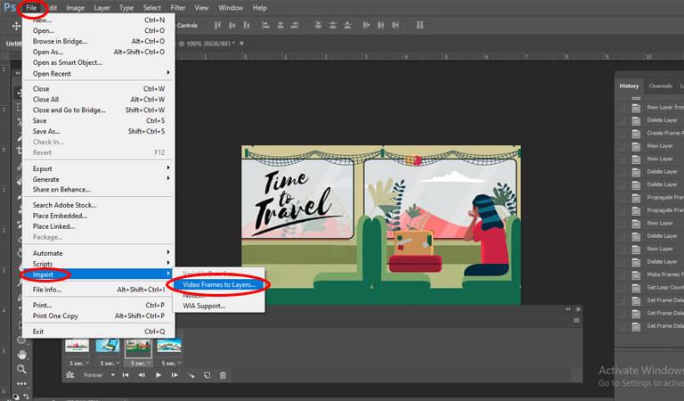 آموزش طراحی بنر گیف - کار با ویدیو