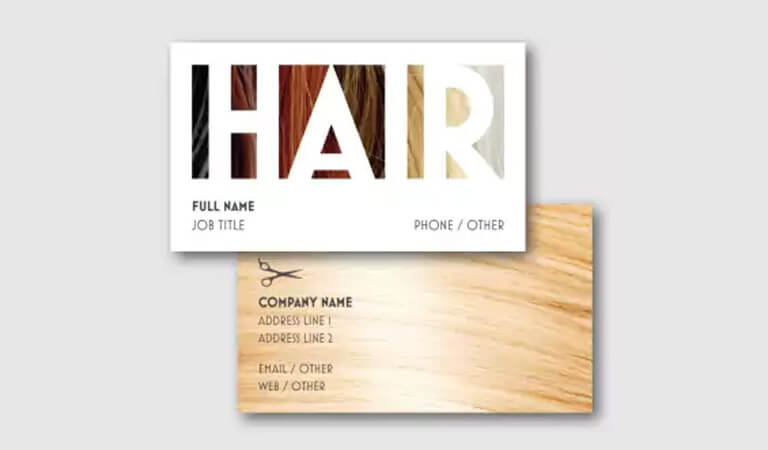 کارت ویزیت آرایشگاه زنانه-نمونه های رنگ مو