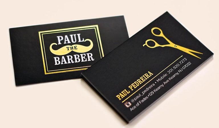 کارت ویزیت آرایشگاه مردانه - استفاده از تاکیدهای رنگی