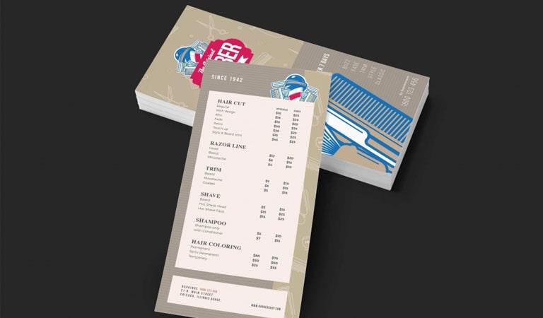 کارت ویزیت آرایشگاه مردانه - استفاده از کارت ویزیت سایز بزرگ
