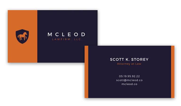 کارت ویزیت وکالت - از رنگ های برند خود استفاده کنید