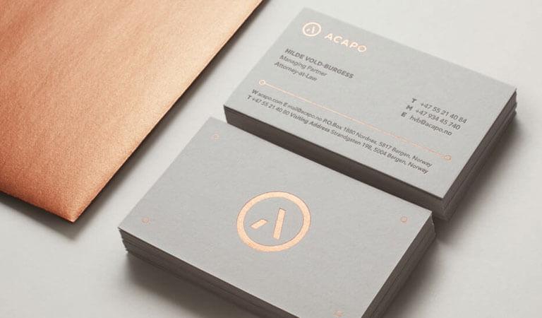کارت ویزیت وکالت - از فویل مس برای یک تأکیدِ منحصربفرد استفاده کنید