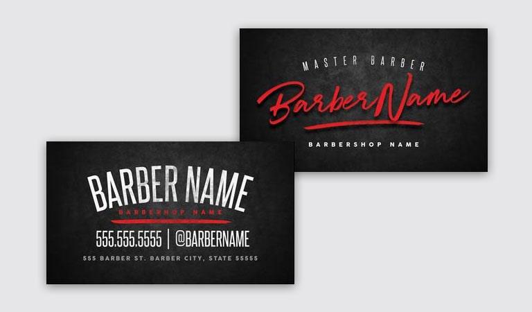 کارت ویزیت آرایشگاه مردانه - استفاده از اسم برای عنوان