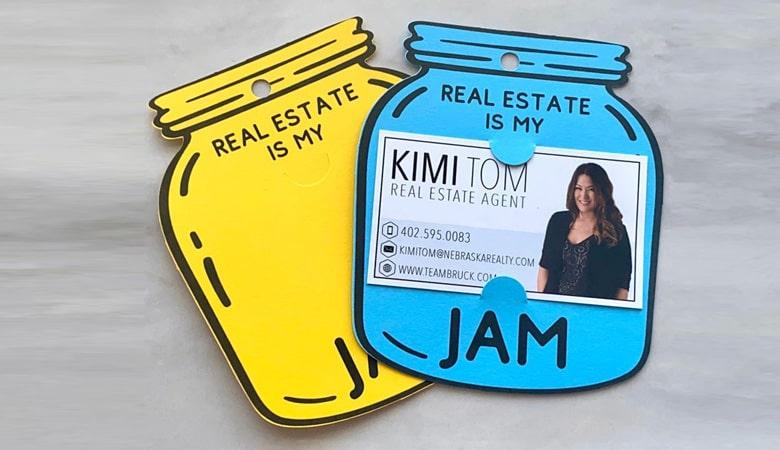 کارت ویزیت املاک - کارت ویزیت خندهدار شیشه مربا