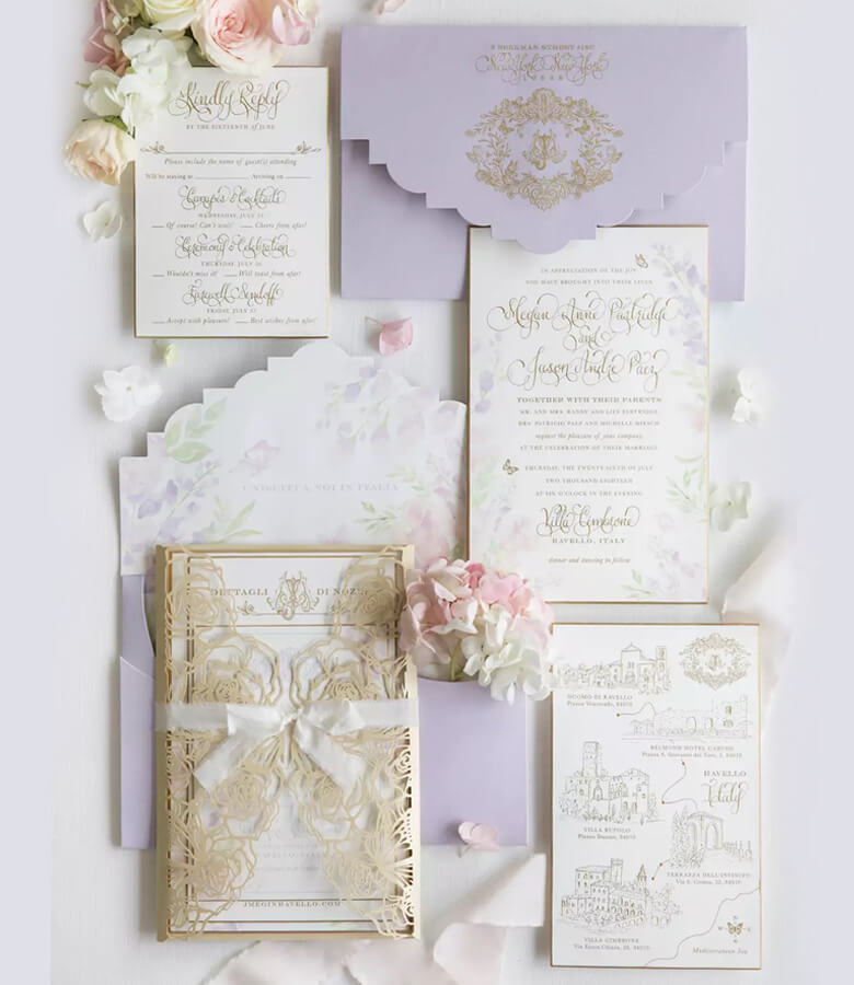 طراحی کارت عروسی - لبههای اریب