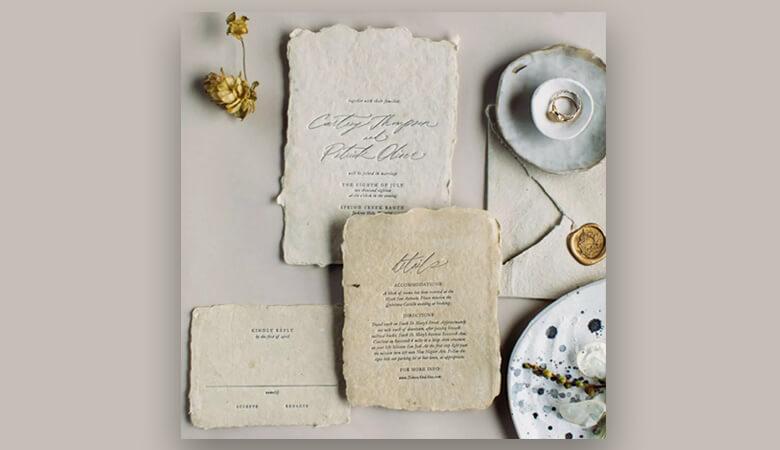 طراحی کارت عروسی - پارچه و چرم را مخلوط کنید