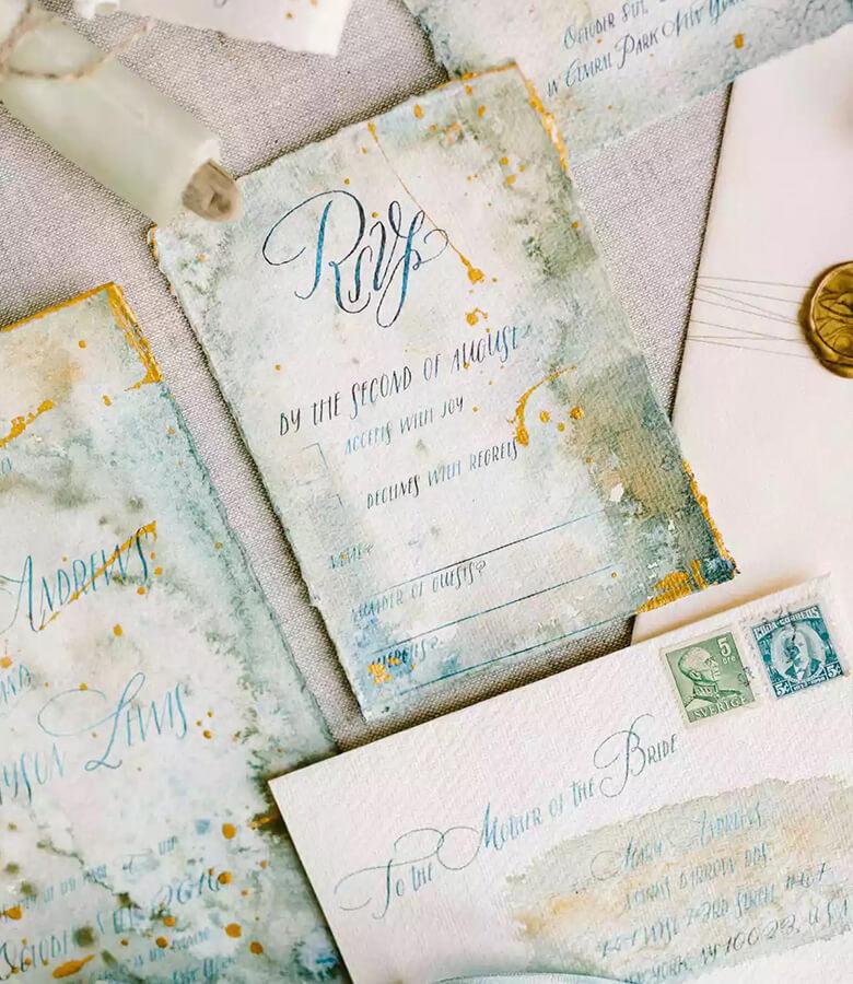 طراحی کارت عروسی - به سبک وینتیج (الهام از گذشته) فکر کنید