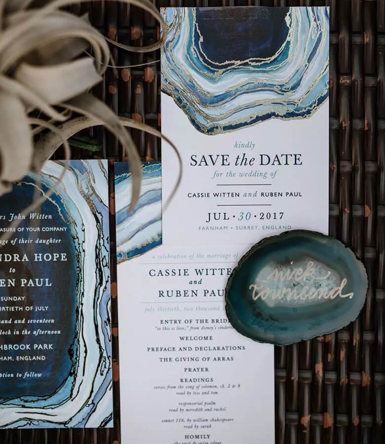 طراحی کارت عروسی - ژئودها (پوک سنگها) را ترکیب کنید