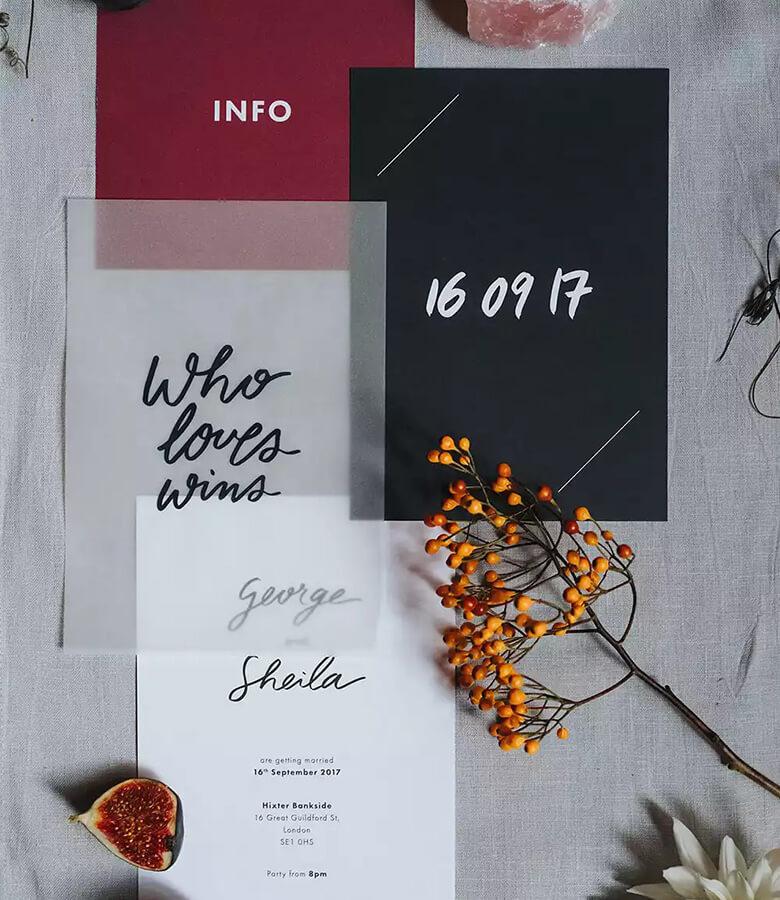 طراحی کارت عروسی - هرچه کمتر، بهتر را به خاطر بسپارید