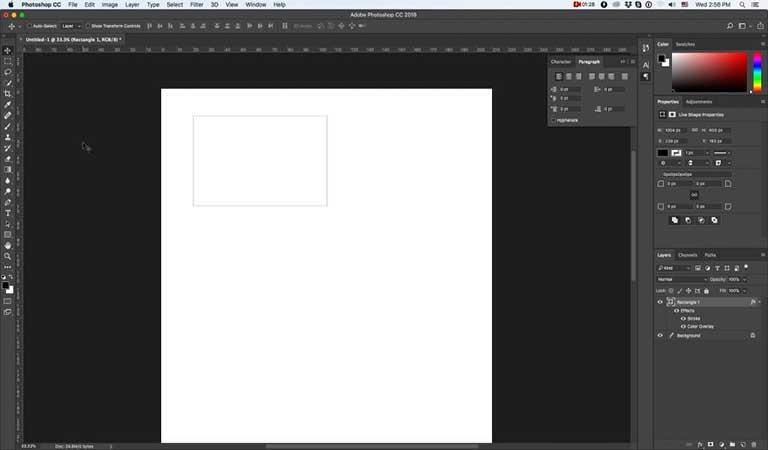 یک مستطیل با اندازه ثابت روی بوم خود اضافه کنید - طراحی کارت ویزیت با فتوشاپ