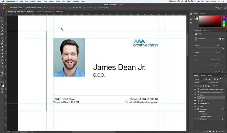 لوگوی شرکت را اضافه کنید - طراحی کارت ویزیت با فتوشاپ