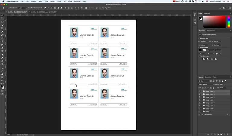 کارت خود را تکثیر کنید تا تمام قسمت کاغذ را پر کنید - طراحی کارت ویزیت با فتوشاپ